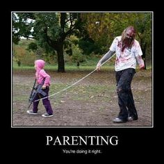 Zombies are IN this Halloween! Show your Walking Dead spirit with your kiddo... They're going to drag you from house to house anyway... May as well dress up!  #halloween