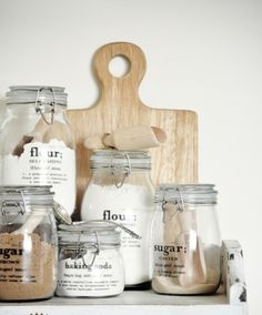 Labeled jars in the kitchen #forthehome #baking #organization
