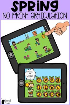 This FUN Spring speech therapy activity is no prep and targets many articulation sounds in all positions of words. No print speech therapy makes your life as a busy SLP easier! Spring articulation activities should be motivating and fun! It includes articulation sounds such as S, Z, K, G, SH, TH, CH, and more! Click for more info.