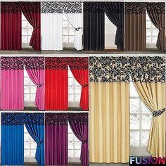 LUXURY Damask Curtains Pair Of Half Flock Pencil Pleat Window Curtain