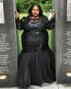 Black sequin illusion neckline long sleeve plus size trumpet tulle prom dress Plus Prom Dresses, Pretty Prom Dresses, Prom Dresses With Sleeves, Black Prom Dresses, Plus Size Dresses, Evening Dresses, Girls Dresses, Halter Dresses, Dress Black