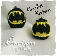 CROCHET PATTERN to make a Batman EOS Lip Balm Holder in two styles with 2 size batman symbol appliques, Pdf Format, Instant Download. by HeartspunByWendy on Etsy