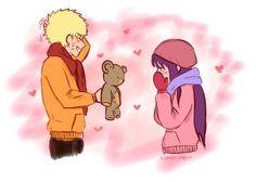 Trading a teddy bear for a scarf.  NaruHina #naruto