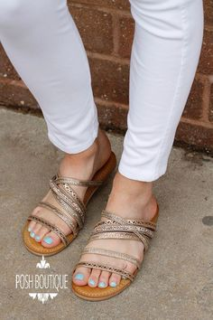 d59eca685b030e Not Rated B Me sandals in tan featuring rose gold embellished straps. - Fit  is
