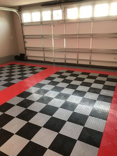 David C Black And White Red Border Garage Tile DIY Pinterest - Cheap good quality floor tiles