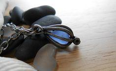 Sea Glass Necklace - Mermaid's Tear ---- Cage Locket Jewelry.
