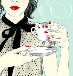 red nails, red lips, hot cup of coffee