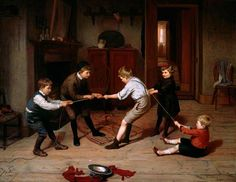 Brooker, Harry, (1848-1940), A Group of Children Playing, 1891, Oil
