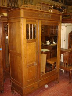 Antique Furniture French Antique Hand Carved Arts And Crafts Mission Armoire Wardrobe Closet Cabinet