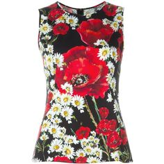 Dolce & Gabbana Daisy and Poppy Print Top ($640) ❤ liked on Polyvore featuring tops, red, red top, pattern tops, print tops, multi color tops and colorful tops
