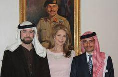 Queen Noor of Jordan with her sons Hashim and Hamzah