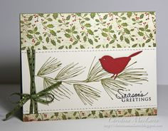 Cardstock:  Papertrey Ink (Vintage Cream), Stampin' Up! (Riding Hood Red)...Patterned paper:  Authentique (Wonder)...Stamps:  Hero Arts (Big Pine Bough), Papertrey Ink (Signature Christmas)...Ink:  Stampin' Up! (Old Olive), Memento (Tuxedo Black)  Tools:  Memory Box (Perched Reed Bird die) Accessories:  AC Moore (ribbon), thread