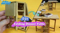 DIY How To Make A Folding Dinner Table!! - Dollhouse Folding Dinner Table
