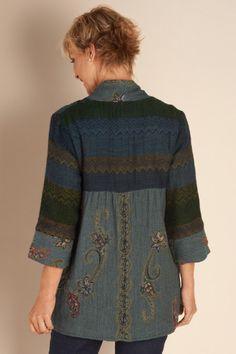 Izmir Jacket - Tapestry Jacket, Three Quarter Sleeve Jacket, Embroidered Jacket, Ladies Tweed Jacket   Soft Surroundings