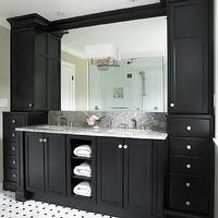 The Sky is the Limit - bathrooms - black, ebony, stained, double bathroom vanity, marble, countertop, marble, tiles, floor, black, marble, i...