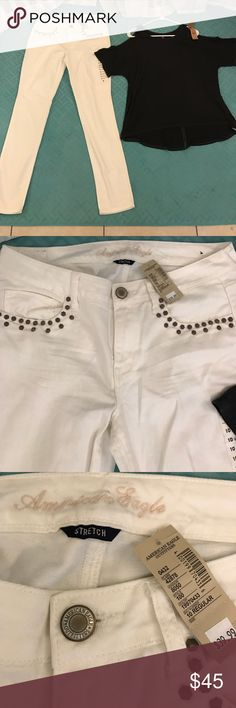 American Eagle 🦅 skinny jeans & super soft tee White stretch jeans studded pockets fit size 8 or 29 best. Charcoal grey cold shoulder top size M/L both brand new with tags! American Eagle Outfitters Jeans Skinny