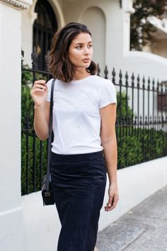 navy suede skirt and white t-shirt | Harper and Harley