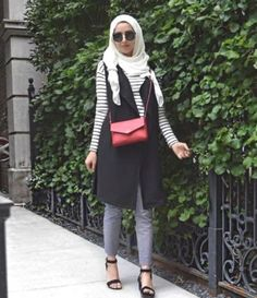 black vest with striped tee- Hijab fashion inspiration http://www.justtrendygirls.com/hijab-fashion-inspiration/
