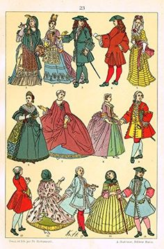 """Hottenroth's Le Costume - """"HUGE 17th CENTURY DRESSES"""" - Chromolithograph - 1890"""