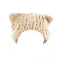 Choies Beige Cat Ears Knit Beanie Hat ($14) ❤ liked on Polyvore featuring accessories, hats, beige, beanie cap, knit cap beanie, cat ear beanie hat, knit beanie caps and beige hat