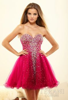 Terani 2014 Prom Dresses - Red Crystal Strapless Sweetheart Prom Dress from Unique Vintage. Saved to Unique Prom -- Prom Sweetheart Prom Dress, Tulle Prom Dress, Strapless Dress Formal, Formal Dresses, Blush Dresses, Short Red Prom Dresses, Prom Dresses 2017, Short Prom, Red Glitter Dress