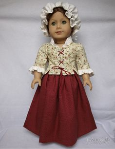 Colonial outfit for Felicity or AG (does not fit PC AG) by fashionedbyrebecca via Etsy  $75.00