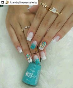Image may contain: one or more people Cute Acrylic Nails, Cute Nails, Pretty Nails, Gelish Nails, Manicure And Pedicure, Simple Nail Art Designs, Nail Designs, Accessoires Iphone, Bride Nails