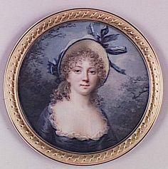 Portrait de jeune fille coiffée d'un chapeau de paille, 1795-1799 Louis Lié Périn-Salbreux (Miniature sur Ivoire)