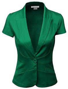 Doublju Women Short Sleeve Cotton Span Satin Fabric Blazer:  ✿
