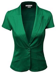Doublju Women Short Sleeve Cotton Span Satin Fabric Blazer:  ✿