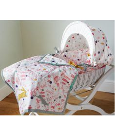 Buy your Joules Mad Hatter Moses Basket - Fitted Sheet Included from Kiddicare Moses Baskets and Stands| Online baby shop | Nursery Equipment