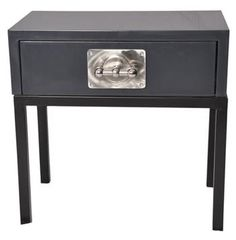 Rossi Industrial Loft Grey Lacquer Chrome Nightstand Side Table. #kathykuohome