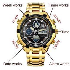 34bc3dd3066 Relogio Dourado Digital Amuda. Dali Relógios e Acessórios