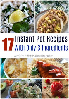 Tasty recipes don't have to include a ton of ingredients. These simple pressure cooker recipes can all be made with 3 ingredients or less in your Instant Pot. Healthy Meal Prep, Easy Healthy Recipes, Easy Meals, 3 Ingredient Chicken Recipes, Cooker Recipes, Crockpot Recipes, Pressure Cooking Recipes, Best Instant Pot Recipe, Instant Pot Pressure Cooker