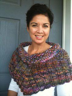 Seed Stitch Cowl in Rasta yarn. Pattern is in the book: Cowlgirls.