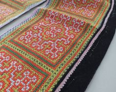 fbf093ee352d4 Vintage Hmong fabric Tribal hemp Cross Stitch Hemp Hilltribe ethnic textile  supplies