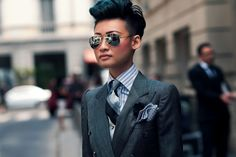 Esther Quek - Fashion Director for The Rake, Revolution, and Condé Nast Traveller Middle East, Milan, Paris Fashion Week - Wearing: Ray-Ban, Banana Republic