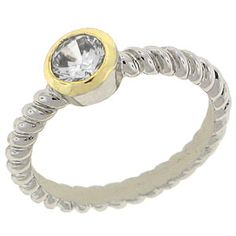 World Class Brilliance with Clear Cubic Zirconia Stones Two-Tone yellow and white gold overlay Clear Diamond Faceted RN4473
