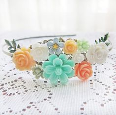 Wedding Headband Woodland Bridal Hairband Peach Mint Green Flower Head Piece Floral Leaf Bridesmaids Pastel Colors Coral Ivory Turquoise Teal