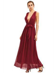 Burgundy Deep V Neck Self Tie Waist Maxi Dress