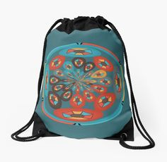 Drawstring bag with colorful diamond shapes design. Design by Gaspar Avila.