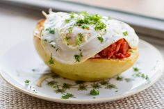 Spaghetti Squash with a Chunky Tomato Sauce and Fried Egg
