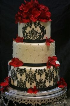Red floral, black damask, white pearls