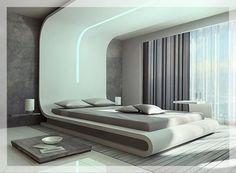 Moderne Schlafzimmerideen The post Futuristisches Schlafzimmer appeared first on Svoc. Bedroom False Ceiling Design, Luxury Bedroom Design, Bedroom Bed Design, Interior Design, Bedroom Designs, Modern Interior, Futuristic Bedroom, Futuristic Interior, Bedroom Furniture