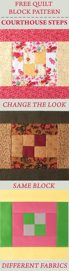 Download the FREE pattern instructions on how to make the Courthouse Steps Quilt Block. Nancy's Notions | Quilting |