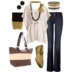 camel & brown, created by #htotheb on #polyvore. мода #style Vero Moda 7 For All Mankind