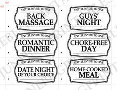 Printable Love Coupon Book Gift for Him PDF by JunebugPrintables. Etsy