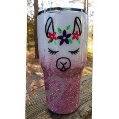 68fc0b92fc6 Llama Face//Stainless Tumbler//Glitter Ombre Tumbler//Gift for her//Chunky  Glitter//Pink Glitter//personalized Gift//Custom Tumbler