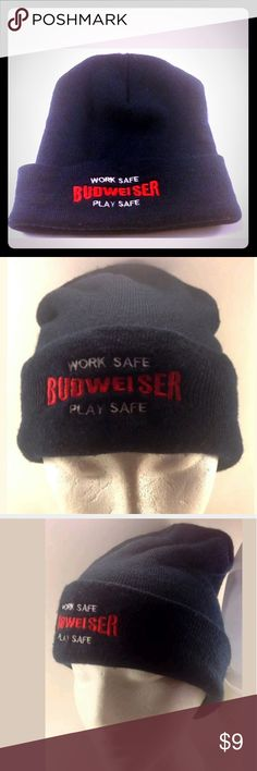 "Budweiser Beer Beanie Skullcap Budweiser Beer Beanie Skullcap   ""Work Safe Play Safe""One Size Fits All  SMOKE FREE HOME Budweiser Accessories Hats"
