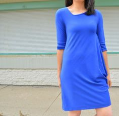 FREE PATTERN ALERT The Brianna Dress Pattern. Learn how to make a stunning draped knit dress with this free sewing pattern and sewing tutorial.
